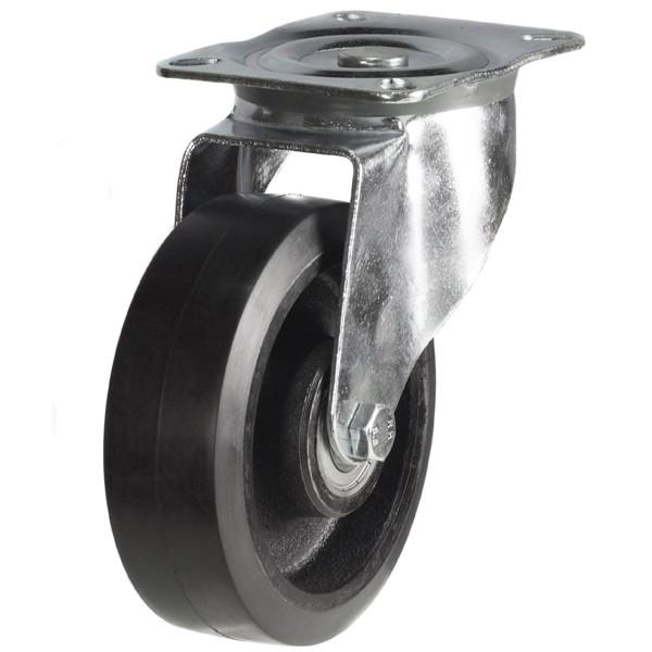 Medium Duty Rubber On Cast Iron Core Swivel Castor