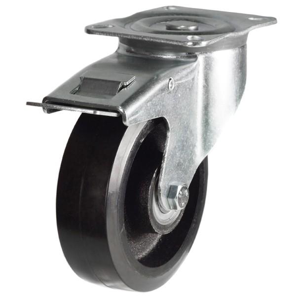 Medium Duty Rubber On Cast Iron Core Swivel Braked Castor