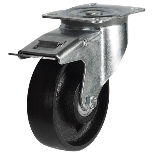Medium Duty Cast Iron Swivel Braked Castor