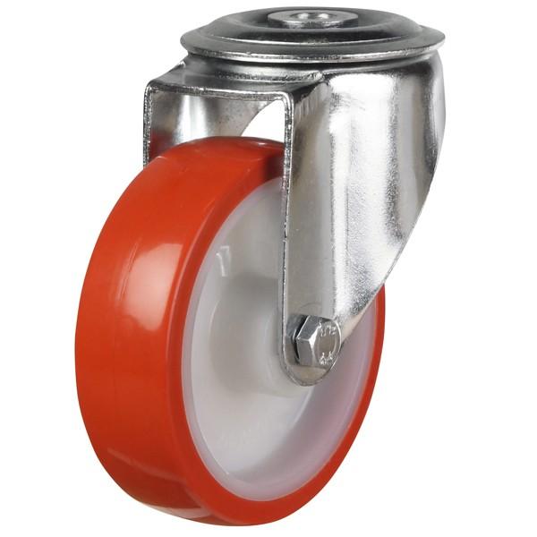 Medium Duty Polyurethane On Nylon Bolt Hole Swivel Castor