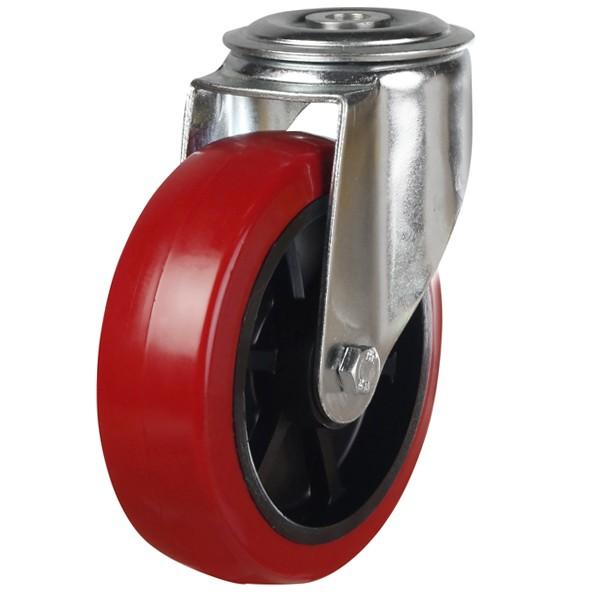 Medium Duty Polyurethane On Black Nylon Bolt Hole Swivel Castor