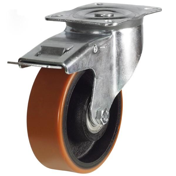 Medium Duty Polyurethane On Nylon Centre Braked Castor