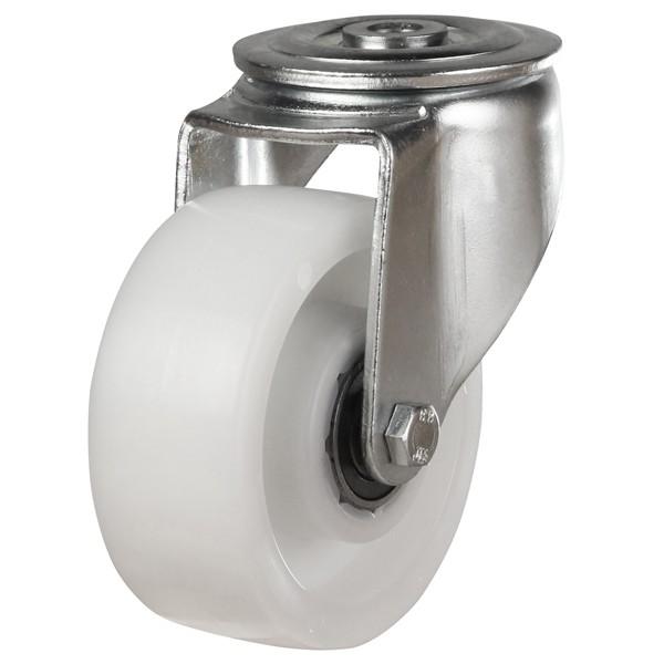 Medium to Heavy Duty Nylon Bolt Hole Castor With Heavy Pressed Steel Bracket