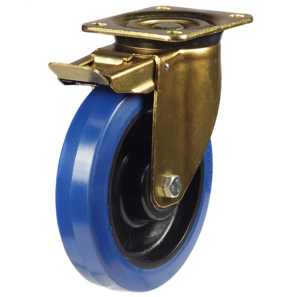 Elastic Non-Marking Rubber On Nylon Centre Heavy Duty Braked Castor
