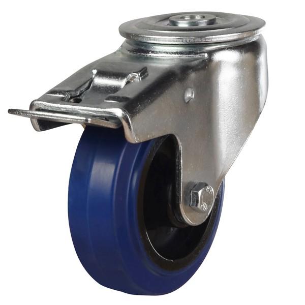 Heavy Duty Elastic Non-Marking Rubber On Nylon Centre Bolt Hole Braked Castor