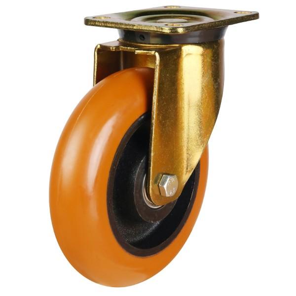 Heavy Duty Round Profile Polyurethane On Cast Iron Centre Swivel Castor