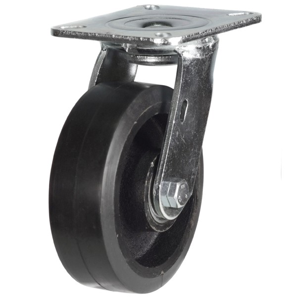 Heavy Duty Elastic Rubber On Cast Iron Centre Swivel Castors