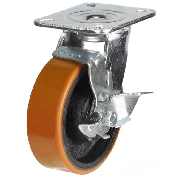 Heavy Duty Polyurethane On Cast Iron Core Braked Castor