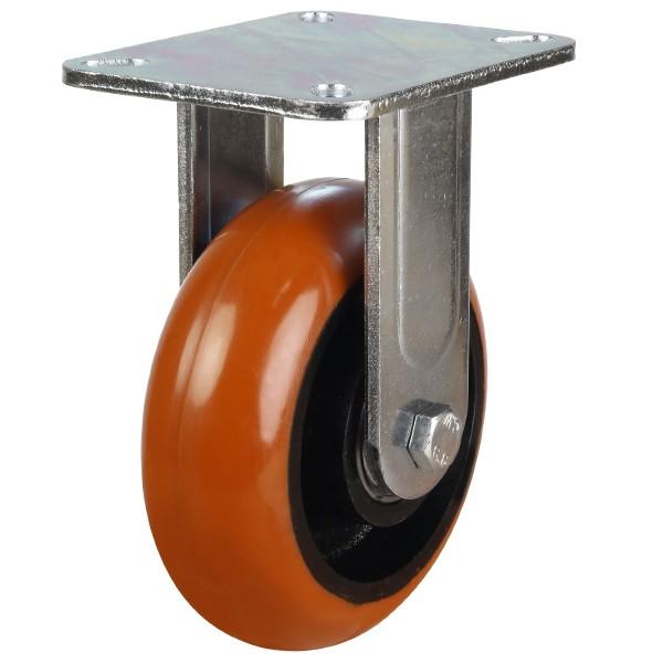Heavy Duty Round Profile Polyurethane On Cast Iron Centre Fixed Castor