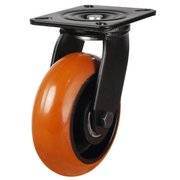 Orange Round Profile Polyurethane On Cast Iron Centre Swivel Castor