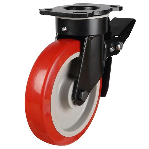 Buy Red Polyurethane On Nylon Centre Braked Castors