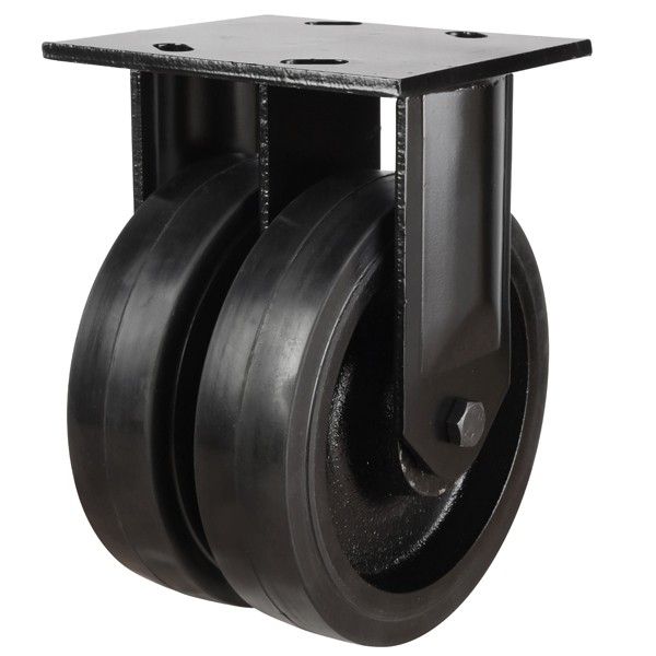 Heavy Duty Rubber On Cast Iron Centre Fixed Castor