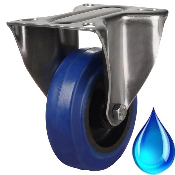Medium Duty Stainless Steel Blue Rubber Fixed Castor