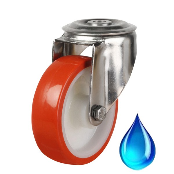 Medium Duty Red Polyurethane On Nylon Centre Bolt Hole Castor