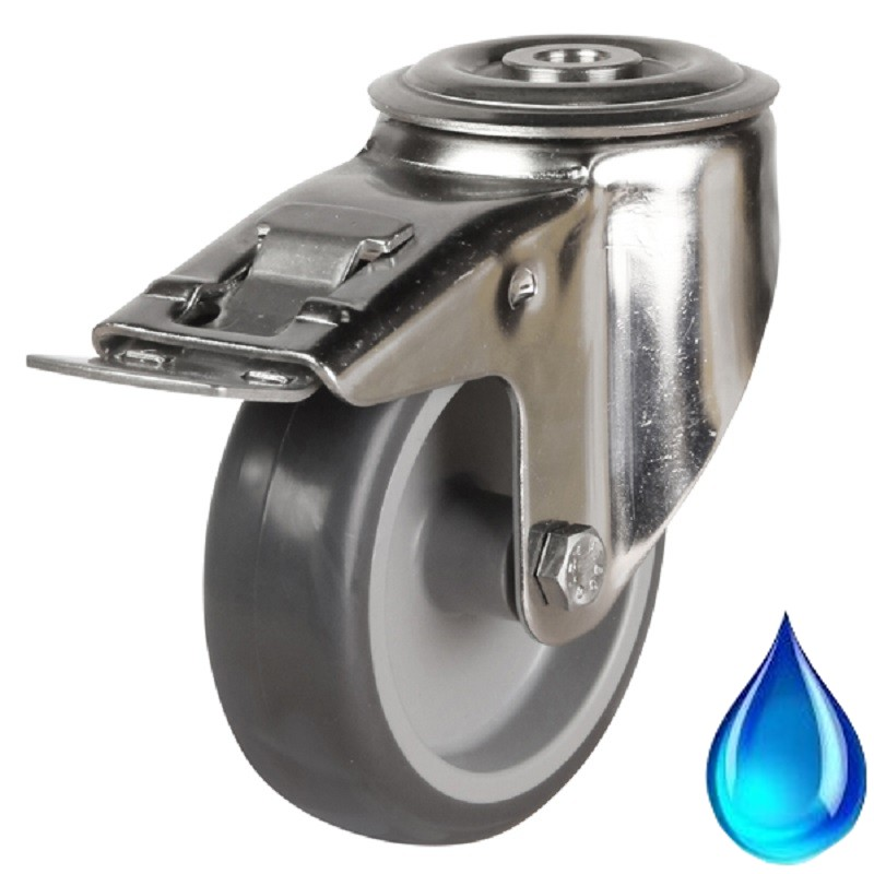Medium Duty Stainless Steel Non-Marking Grey Rubber Braked Castor