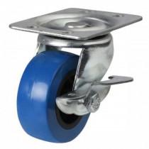 50mm Blue Polyurethane On Plastic Centre Swivel Braked Castor