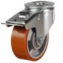 Heavy Duty Polyurethane On Aluminium Centre Bolt Hole Braked Castor