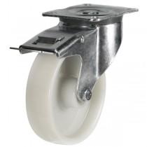 Medium to Heavy Duty Nylon Braked Castor With Heavy Pressed Steel Bracket