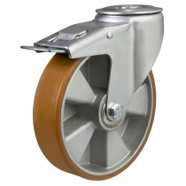 Medium Duty Bolt Hole Braked Castor, Polyurethane Wheel on Aluminium Centre