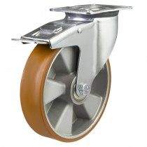 Medium Duty Polyurethane On Aluminium Centre Braked Castors