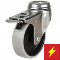 Light Duty Antistatic Non-Marking Rubber Bolt Hole Braked Castor