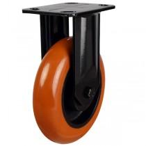 Orange Round Profile Polyurethane On Cast Iron Centre Fixed Castor