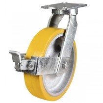 Ultra Heavy Duty Polyurethane On Cast Iron Core Braked Castor