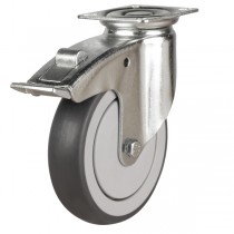 Synthetic Non-Marking Swivel Braked Castor