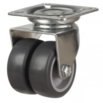 Synthetic Non-Marking Grey Rubber On Plastic Centre Twin Wheel Swivel Castor