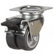 Twin Wheel Synthetic Non-Marking Rubber Swivel Braked Castor