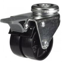 Light Duty Twin Wheel Bolt Hole Braked Castor with Nylon Wheel