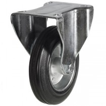 Medium Duty Rubber Tyre On Steel Disk Centre Fixed Castor