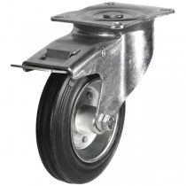 Medium Duty Rubber On Steel Disk Centre Braked Castors