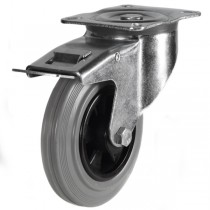 Medium Duty Grey Non-Marking Braked Castors