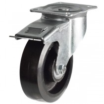 Medium Duty Rubber On Cast Iron Core Swivel Braked Castor