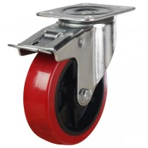 Medium Duty Polyurethane On Black Nylon Swivel Braked Castor