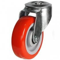 Medium Duty Polyurethane On Nylon Bolt Hole Swivel Castor