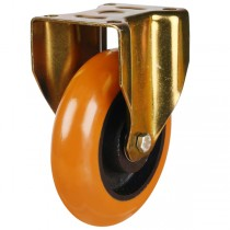 Heavy Duty Round Profile Polyurethane On Cast Iron Centre Fixed Castor