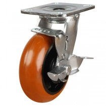 Heavy Duty Polyurethane On Cast Iron Core Braked Castor