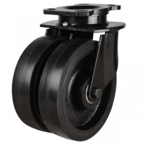 Heavy Duty Rubber On Cast Iron Centre Swivel Castor