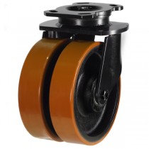 Heavy Duty Polyurethane On Cast Iron Centre Swivel Castor
