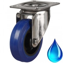 Medium Duty Stainless Steel Blue Rubber Swivel Castor