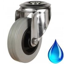 Medium Duty Stainless Steel Non-Marking Rubber Bolt Hole Castor