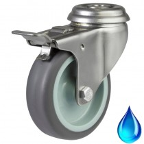 Stainless Steel Synthetic Non-Marking Grey Rubber Bolt Hole Braked Casters (Castors)