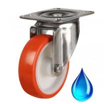 Medium Duty Red Polyurethane On Nylon Centre Swivel Castor With Stainless Steel Bracket