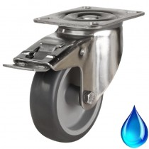 Medium Duty Stainless Steel Non-Marking Grey Rubber Braked Castor