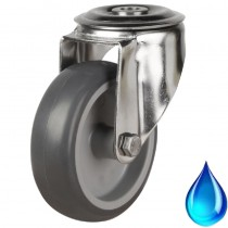 Medium Duty Stainless Steel Non-Marking Grey Rubber Bolt Hole Castor