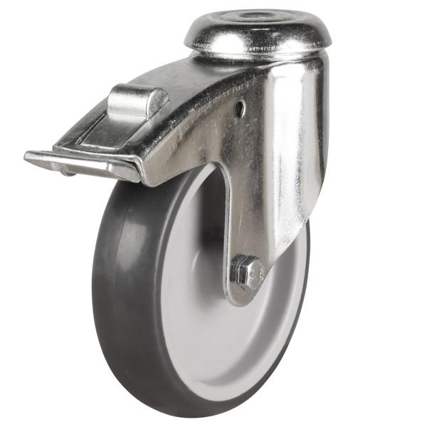 Light Duty Synthetic Non-Marking Rubber Bolt Hole Braked Castor