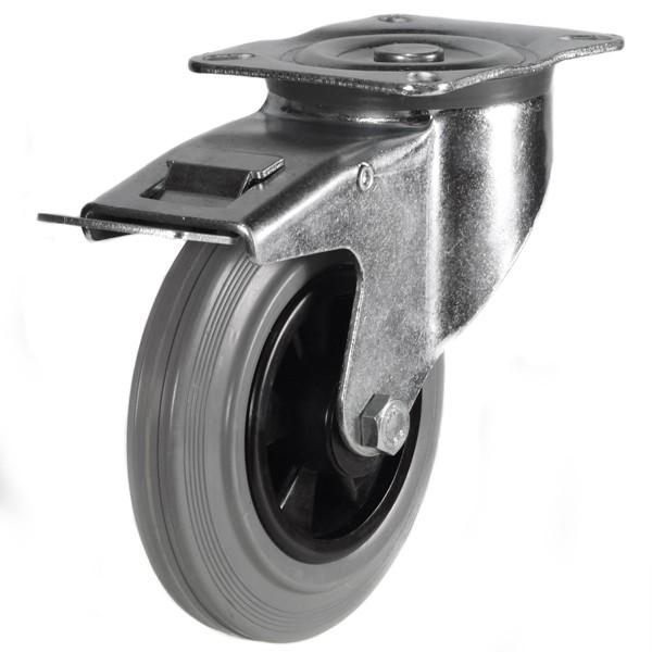 Medium Duty Grey Non-Marking Braked Castors