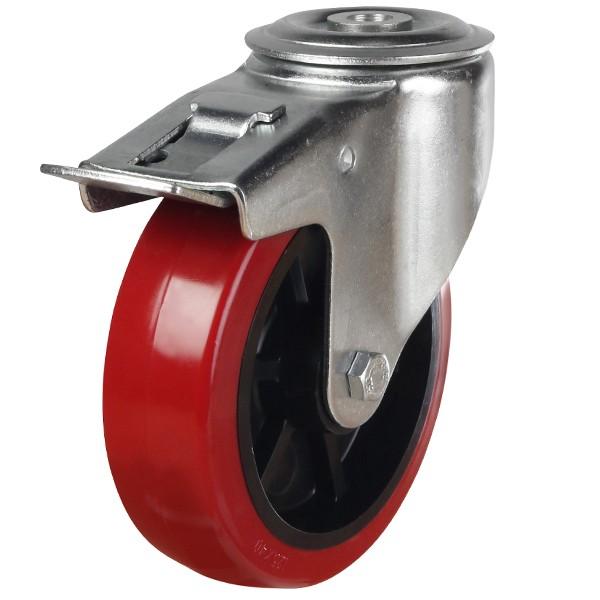 Medium Duty Castor Polyurethane On Nylon Centre Bolt Hole Braked Caster